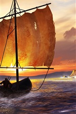 Preview iPhone wallpaper Art drawing, sea, sailboat, castle, birds, sunset