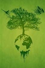 Preview iPhone wallpaper Art drawing, tree, earth, green