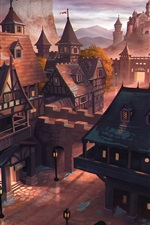 Preview iPhone wallpaper Art painting, Middle Ages, ancient city