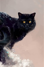Preview iPhone wallpaper Art painting, black cat, winter, tree