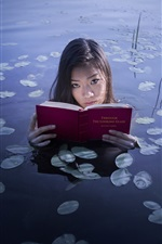 Preview iPhone wallpaper Asian girl read book in the lake
