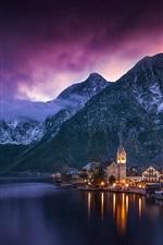 Preview iPhone wallpaper Austria, Hallstatt, evening, lake, houses, mountains, lights