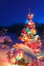 Preview iPhone wallpaper Beautiful Christmas tree, lights, snow, night
