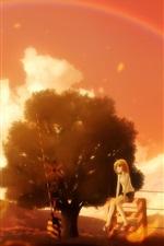 iPhone обои Красивые аниме сцены, девушка и мальчик, деревья, радуга, железная дорога, теплые