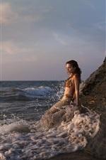 Sereia bonita, mar, ondas