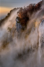 Beautiful nature landscape, mountains, cliff, rocks, fog, morning