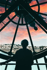 Preview iPhone wallpaper Big clock, girl, city