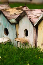 Preview iPhone wallpaper Birdhouses, grass