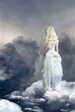 Preview iPhone wallpaper Blonde girl, angel, sky, clouds, birds, paradise