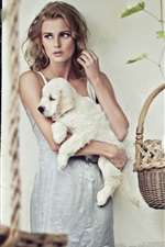 Preview iPhone wallpaper Blonde girl, curly hair, dogs