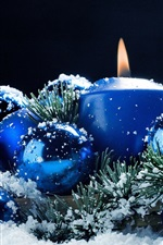 Blue candle and balls, snow, Christmas theme