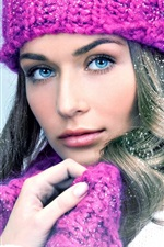 Preview iPhone wallpaper Blue eyes girl, purple scarf