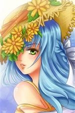 Menina de anime de cabelo azul, grinalda na cabeça