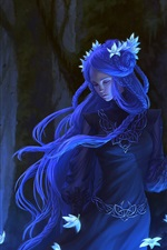 Preview iPhone wallpaper Blue hair fantasy girl, flowers, forest