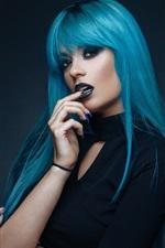 Preview iPhone wallpaper Blue hair girl, makeup