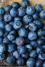 Preview iPhone wallpaper Blueberries, wood board
