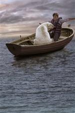 Preview iPhone wallpaper Boat, sea, polar bear, boy
