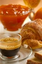 Preview iPhone wallpaper Bread, jam, coffee, breakfast