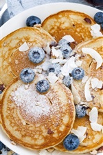 Preview iPhone wallpaper Breakfast, blueberries, pancakes, coffee