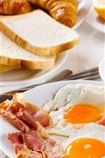 iPhone обои Завтрак, кофе, омлет, хлеб, апельсин