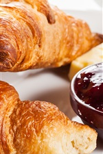 Preview iPhone wallpaper Breakfast, croissant, jam