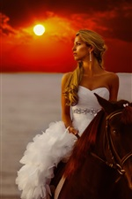 Preview iPhone wallpaper Bride riding horse, sunset, sea