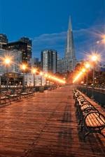 Preview iPhone wallpaper Bridge, lights, bench, city, skyscrapers, night
