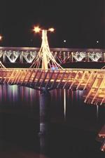 Preview iPhone wallpaper Bridge, pier, river, lights, night