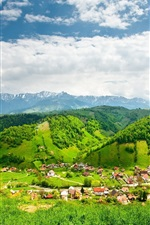 Preview iPhone wallpaper Brightly summer, hills, trees, village