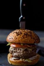 Hambúrguer, carne, faca, comida