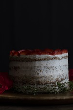 Preview iPhone wallpaper Cake, strawberry, rose, petals