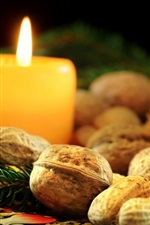 Candle, nuts, box, Christmas decoration