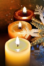 Preview iPhone wallpaper Candles, flame, fire, snowflake, shine, Christmas theme