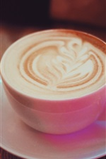 Preview iPhone wallpaper Cappuccino coffee, pink cup