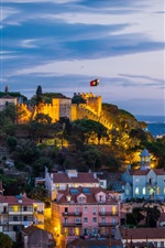 Preview iPhone wallpaper Castle, coast, lighting, city, night, fortress, Portugal