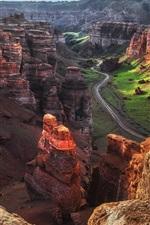 iPhone обои Чарын-Каньон, Казахстан, утро, дорога, прекрасный пейзаж