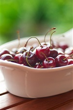 Preview iPhone wallpaper Cherries, bowl, wood table