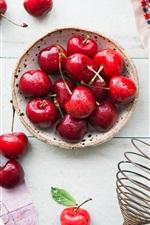Preview iPhone wallpaper Cherry, water drops, jam, sugar