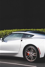 iPhone壁紙のプレビュー シボレーコルベット白いスーパーカーの側面図