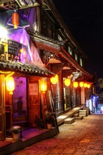 Preview iPhone wallpaper China, travel, town, street, store, night, lights