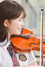 Preview iPhone wallpaper Chinese girl play violin, smile