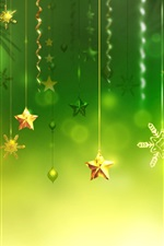 Preview iPhone wallpaper Christmas decorations, green background, stars, balls, snowflake