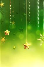 Decorações de natal, fundo verde, estrelas, bolas, floco de neve