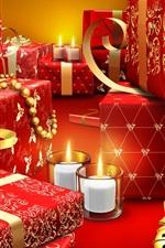iPhone fondos de pantalla Regalos de Navidad, velas, estilo rojo