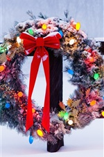 Preview iPhone wallpaper Christmas wreath, winter, snow, fence