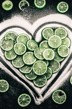 Preview iPhone wallpaper Citrus slices, lime, love heart