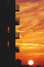 Preview iPhone wallpaper City, balcony, sunset, sky, sun
