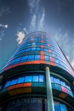 Preview iPhone wallpaper City, building, glass, colorful, clouds
