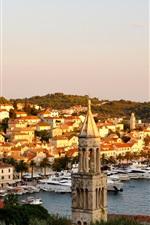 Preview iPhone wallpaper City, houses, island, resort, boats, sea, Croatia