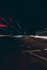 Cidade, noite, estrada, linhas de luz